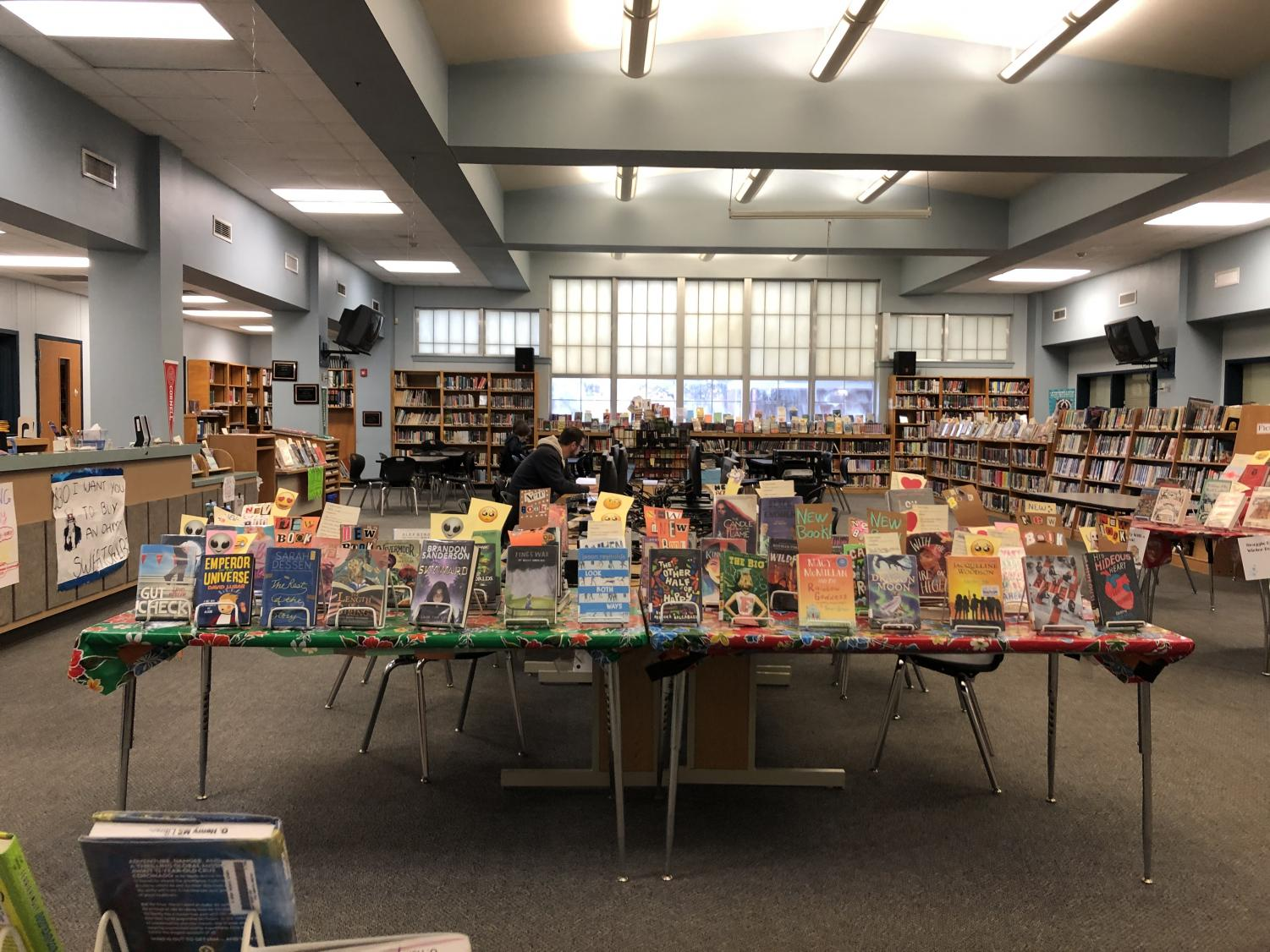 A display of books that greets library visitors