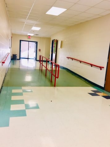 A vacant hallway before the passing period